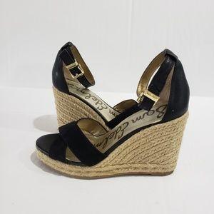SAM EDELMAN Black Wedge Sandals Size 6